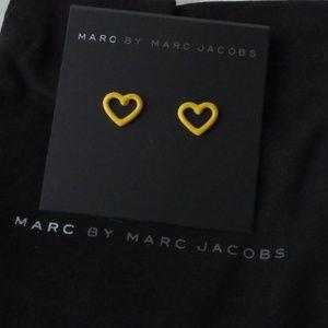 NWT Marc Jacobs Yellow Open Heart Stud Earrings
